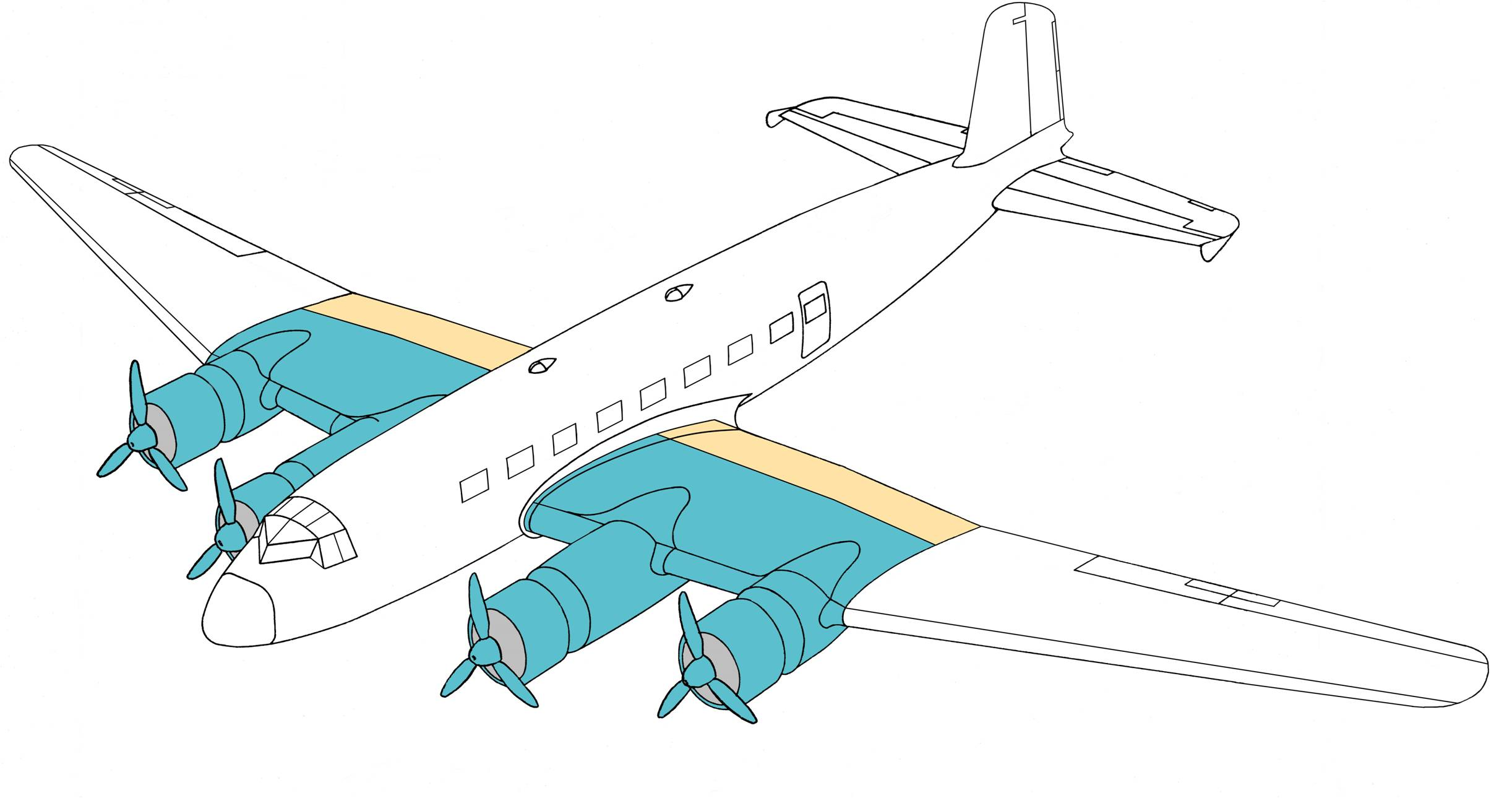 beide Innenflügel markiert, Endkästen farbig anders markiert